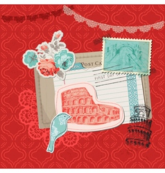 Italy vintage card with stamps vector