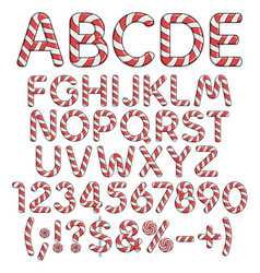 Alphabet numbers and signs from red candies vector