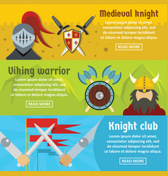 Medieval knight banner horizontal set flat style vector