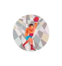 Boxer boxing punching circle low polygon vector