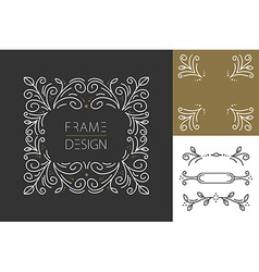 Retro hispter monogram frame set design vector