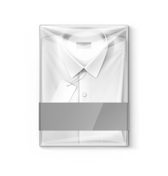 White classic men shirt with label in box vector