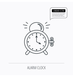 Alarm clock icon mechanical retro time sign vector