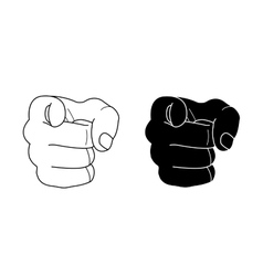 Fists with pointing finger contour vector