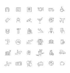 Air travel or airport services outline icon set vector