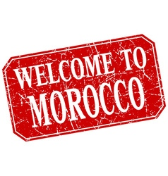 Welcome to morocco red square grunge stamp vector