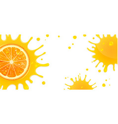 banner with orange and splash juice vector image