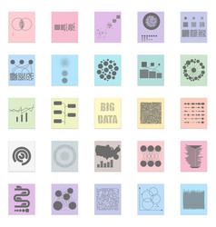 big data set black icon on color sticker vector image vector image