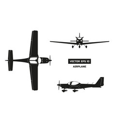 black silhouette of airplane on white background vector image