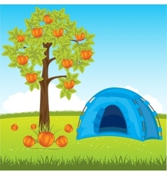 Blue tent under tree vector