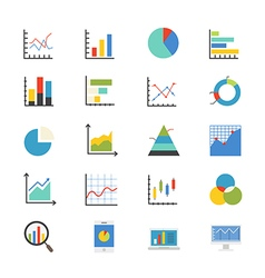 Business Chart and Graph Flat Icons color vector image vector image