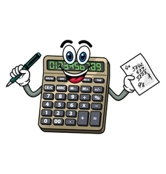 Cartoon calculator with pen and note vector image vector image