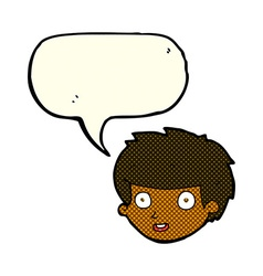 cartoon happy boys face with speech bubble vector image vector image