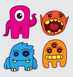 cartoon monster stickers vector image