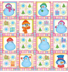 Christmas background funny snowmen vector image