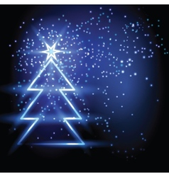 Christmas fir tree on blue background vector image vector image