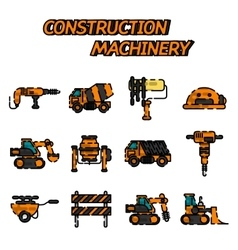 Construction machinery flat icon set vector image