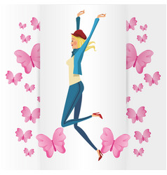 Funny girl blonde with pink butterfly vector