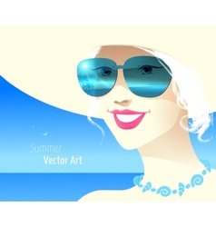 Girl wearing sunglasses vector