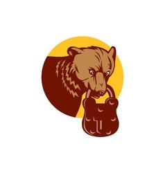 Grizzly bear biting bear padlock circle retro vector