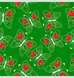 Heart butterfly pattern green vector