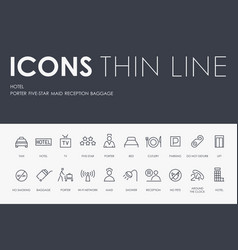 hotel thin line icons vector image
