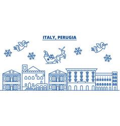 Italy perugia winter city skyline merry vector
