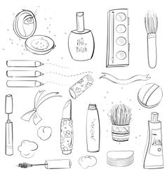 Makeup set sketch drawing vector
