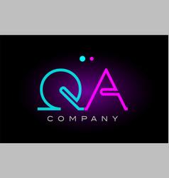 neon lights alphabet qa q a letter logo icon vector image