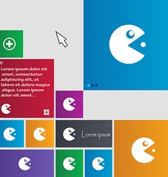 Pac man icon sign buttons modern interface website vector