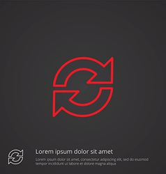 reload outline symbol red on dark background logo vector image