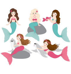 set of beautiful mermaids vector image