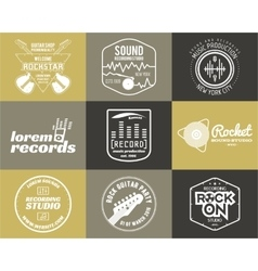 Set of music production logo Musical label vector image vector image