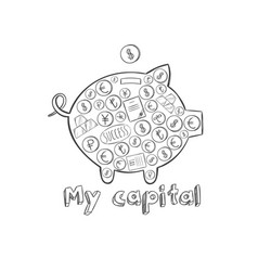 Sketch pig money box concept vector