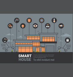 Smart home infographics banner modern house vector