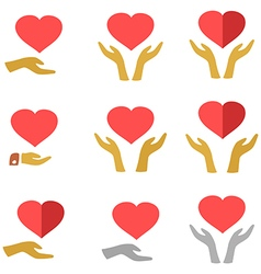 Stylized red heart on hands man and woman icons vector image