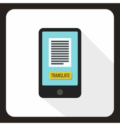 Translator on phone icon flat style vector image vector image