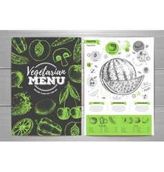 Vintage vegetarian menu design fresh fruit sketch vector