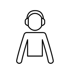 Dj headphone music icon graphic vector
