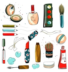 Makeup set colorful drawing vector