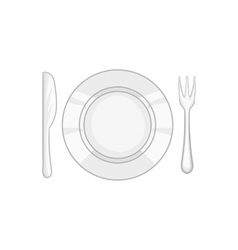 Plate and cutlery icon black monochrome style vector