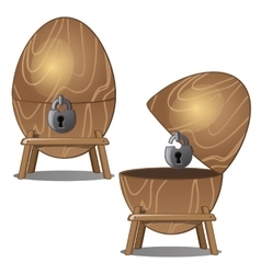 Closed and open wooden eggs with lock on stand vector