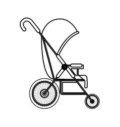 Silhouette simple baby carriage with layette vector