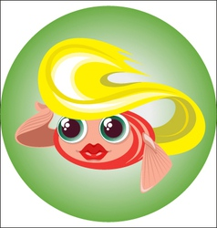Cute blonde little fish in a circle vector