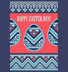 Holiday spring greeting card eggs paper cut and vector