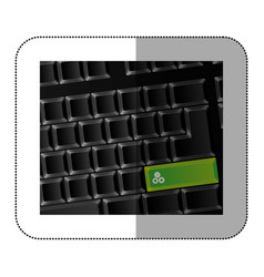 Back computer keyboard with gear symbol icon vector
