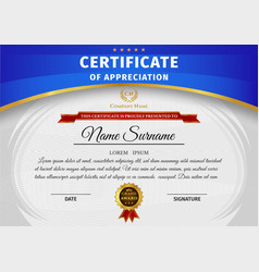 Certificate template with blue and gold vector