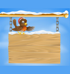 christmas sign robin bird vector image