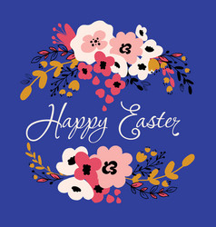 Happy easter floral card vector