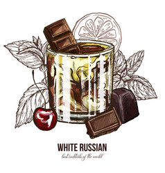 White russian cocktail with cherry and chocolate vector